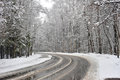 Turn winter road in  forest zone Royalty Free Stock Photo