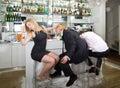 Turning down a flirting man Royalty Free Stock Photo