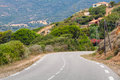 Turning mountain highway road landscape of corsica france Stock Photo