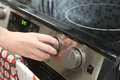 Turning oven on Royalty Free Stock Photo