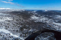 Turning over to the valley view ski resort and its mountains from a helicopter Stock Photos