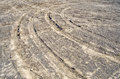 Turning tire tracks Royalty Free Stock Photo