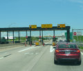 Turnpike toll booth maintained by the oklahoma turnpike authority part of extensive system all turnpikes are controlled access Royalty Free Stock Images