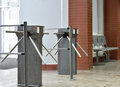 Turnstile controlling access to the building Royalty Free Stock Photos