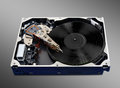 Turntable hard disk fantastic concept of on disc opened Stock Images