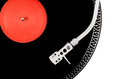 Turntable needle on the black and red plate Royalty Free Stock Photo