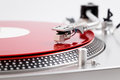 Turntable needle on a red plate Royalty Free Stock Photo
