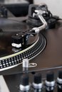 Turntable playing vinyl music record Royalty Free Stock Photos