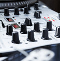 Turntable vinyl and sound mixer professional equipment for a disc jockey record players channel mixing controller Royalty Free Stock Photos