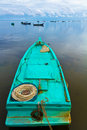 Turqoise fisher boat in Ham Ninh, Vietna Royalty Free Stock Image