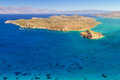 Turquise water mirabello bay spinalonga island crete Stock Photos