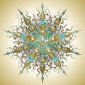 Turquois and gold mandala Stock Photos