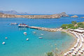 Turquoise bay of Lindos at Rhodes Island Royalty Free Stock Photo