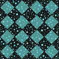Turquoise and black vector seamless chess styled vintage texture with clove flowers and shining rounds Royalty Free Stock Photo