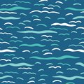 Turquoise blue ocean waves seamless vector pattern. Hand drawn seaside beach water tile. Wavy aqua all over print for seafaring Royalty Free Stock Photo