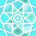 Turquoise blue shiny glitter seamless arabesque background Stock Image