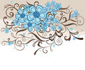 Turquoise and brown floral design Royalty Free Stock Photo