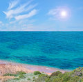 Turquoise capo coda cavallo sea in sardinia Stock Photos