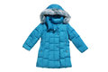 Turquoise children s padded coat with hood Stock Photography