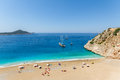 Turquoise coast with tourists and yachts in antalya turkey Royalty Free Stock Image