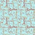 Turquoise coffee seamless pattern
