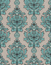 Turquoise damask background Stock Photo