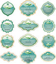 Turquoise eco labels Stock Photo