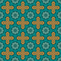 Turquoise floral damask. Seamless pattern Royalty Free Stock Photo