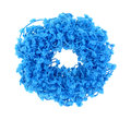 Turquoise frilly hair holder looking down at a bright Stock Photography