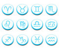 Turquoise horoscope icons Royalty Free Stock Images
