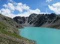 Turquoise lake in the mountains Ala-Kul Royalty Free Stock Photo