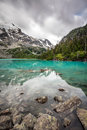 Turquoise lake in the mountains Royalty Free Stock Photo