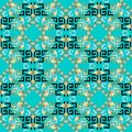 Turquoise modern greek key seamless pattern. Vector floral gold Royalty Free Stock Photo