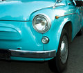 Turquoise retro car close up view Royalty Free Stock Photo