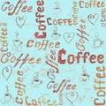 Turquoise seamless coffee pattern