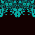Turquoise seamless lace pattern on black invitation background Royalty Free Stock Photos