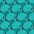 Turquoise skull grunge seamless pattern Royalty Free Stock Photo