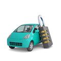 Turquoise small car and combination lock d render isolated on white background Royalty Free Stock Image