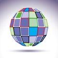 Turquoise Spherical Fractal Ob...