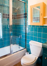 Turquoise tile work in a bathroom Stock Photos