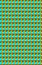 A turquoise and brown pattern made from rectangles and triangles. Royalty Free Stock Photo