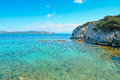 Turquoise water crystal clear in cala dragunara sardinia Royalty Free Stock Photography