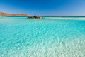 Turquoise water of elafonisi beach crete greece Stock Photography