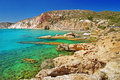 Turquoise waters of milos island greece Stock Photo