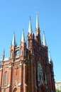 Turrets and pinnacles central facade the cathedral of the immaculate conception of the blessed virgin mary heat Stock Photos