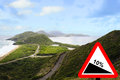 Turtle bay St Kitts steep hill downwards sign Royalty Free Stock Images