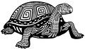 Turtle black white and illustration Royalty Free Stock Image