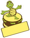Turtle burger a color illustration of a cartoon standing on a in a welcome pose can be used as a mascot Royalty Free Stock Image