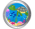 Turtle cartoon with porthole frame Royalty Free Stock Photo