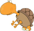 Turtle cartoon yellow little standing on hinder legs Stock Photos
